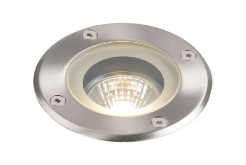 Polished stainless steel & clear glass Ground Light GH98042V by Endon